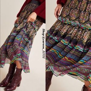 🦄Anthropologie Cora Tiered Midi Skirt 14